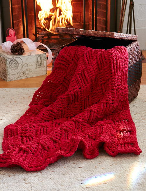 Cranberry Basketweave Throw