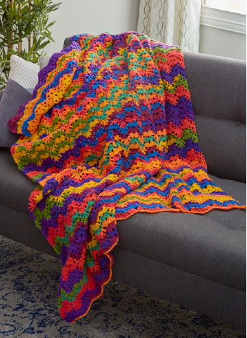 Vibrant Stripes Easy Crochet Blanket