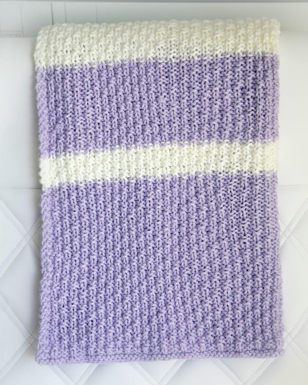 Lavender Cream Baby Blanket AllFreeKnitting.com