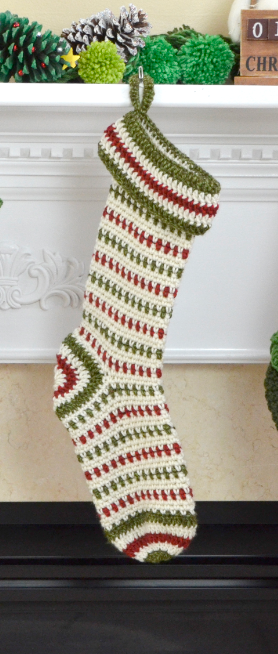Knit Pattern For Striped Christmas Stocking : Crocheted Striped Stocking Pattern FaveCrafts.com