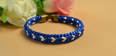Blue Kumihimo DIY Braided Friendship Bracelet