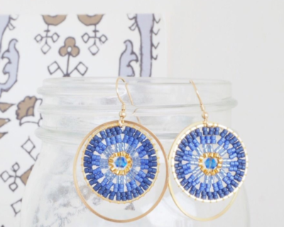 Brick Stitch DIY Beaded Hoop Earrings