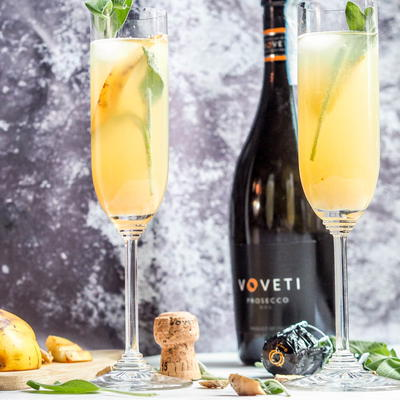 Winter Prosecco Sage Pear Cocktails