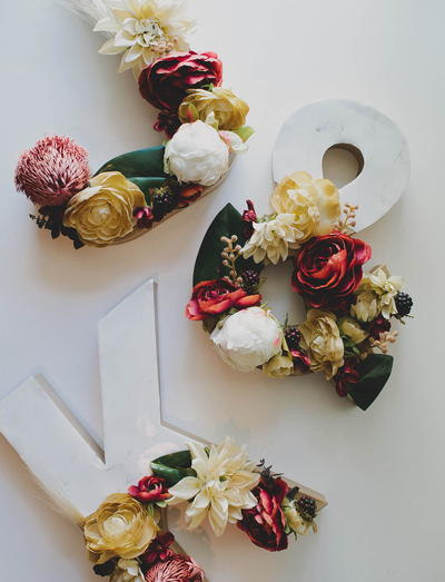 Festive Flower and Marble Letters