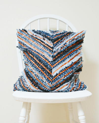 Denim Chevron Cushion