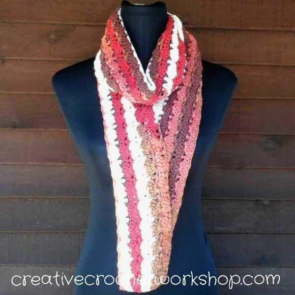 fan stitch cake roll scarf allfreecrochet