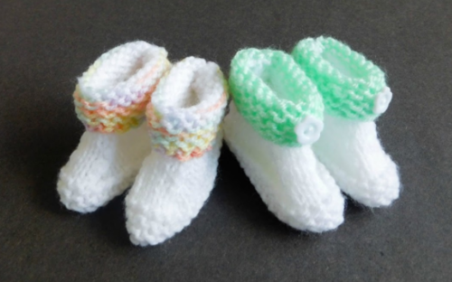 Buttons and Bows Baby Booties Pattern