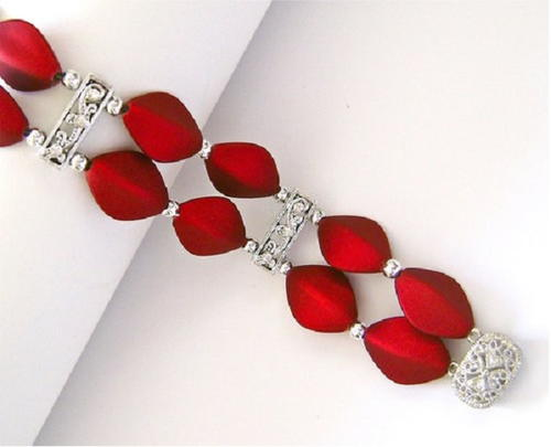 Rich Red Satin Bead Bracelet