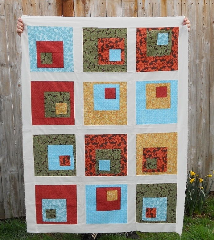 Quilting Designs For Log Cabin Blocks : Concrete Log Cabin Quilt Block FaveQuilts.com