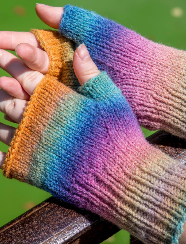 Rainbow Fingerless Mitten Pattern   AllFreeKnitting.com