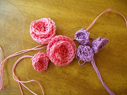 Knitted Flower Large and Small