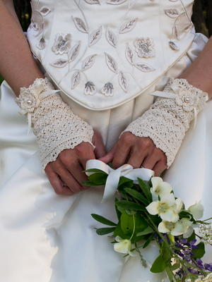 Wrapped in Lace Fingerless Bridal Gloves