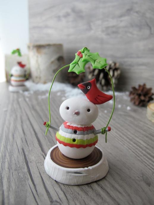 cute clay snowman decor