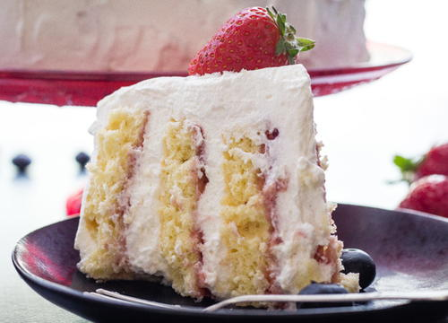 Strawberry and Cream Vertical Layer Cake