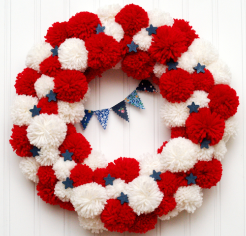 Patriotic Pom Pom DIY Wreath
