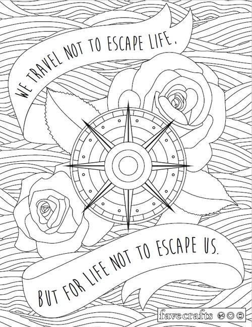 Travel Escape Adult Coloring Page FaveCraftscom