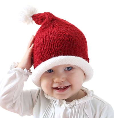 Stockinette Baby Santa Hat Pattern   AllFreeKnitting.com