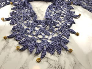 Beaded Lila Crochet Necklace Scarf