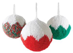 Festive Knitted Christmas Ball Ornaments