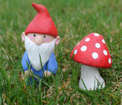 Clay Mushroom and Garden Gnome Accents
