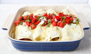 Green Chile Chicken Enchiladas for Two