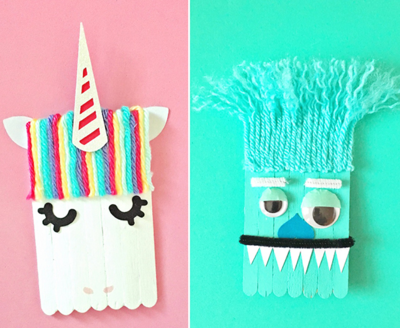 Popsicle Stick Unicorn and Monster Craft