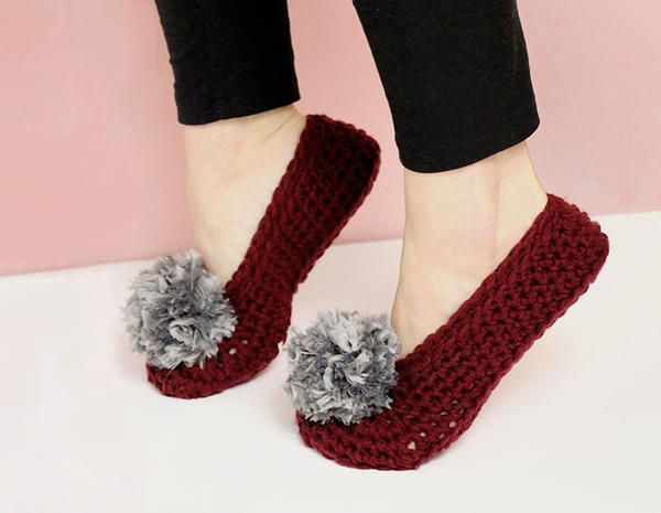 Pom Pom Crochet Slippers for Adults