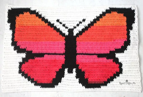 Beautiful Butterfly Crochet Throw Blanket