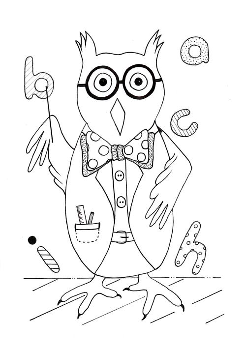 Smart Owl Back to School Coloring Page