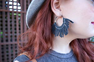 DIY Stitched Fringe Tassel Hoop Earrings