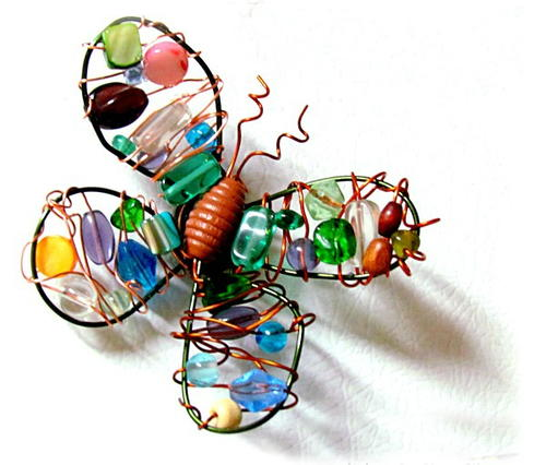 DIY Wire and Bead Butterfly Magnet