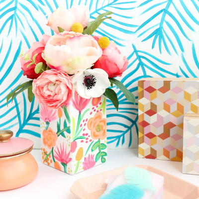 Cheerful Painted Floral Vase