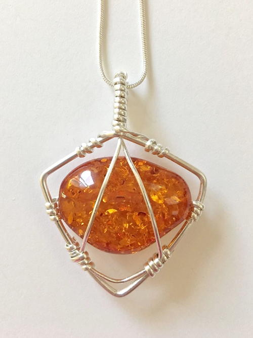 Caged Faux Amber Pendant