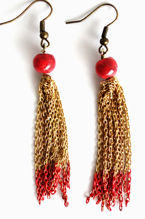 Red and Gold Chained Tassel Earrings