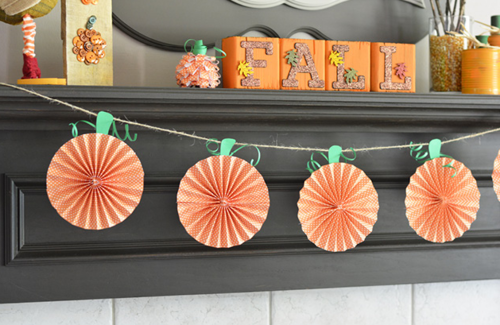 Paper Pumpkin Garland Decor