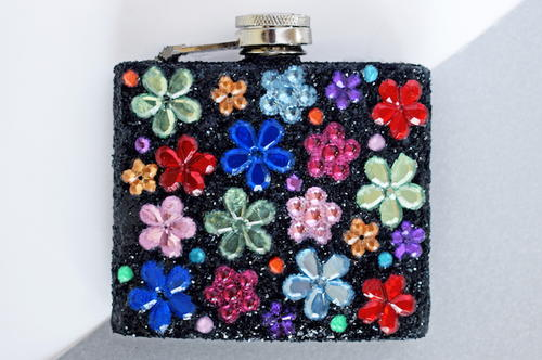 DIY Customised Hip Flask with Glitter & Gems
