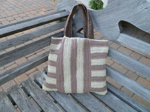 Striped Crochet Tote