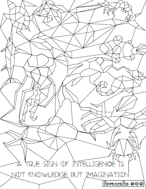 Hidden Aquatics Geometric Coloring Page