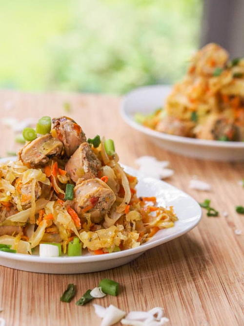 Cabbage Hash with Chicken Sausage