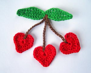 Crochet Cherry Hearts Applique