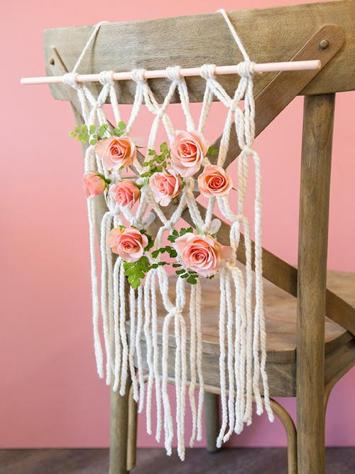 Floral Macrame Chair Decorations