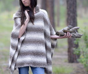 Oversized Hooded Poncho Pattern