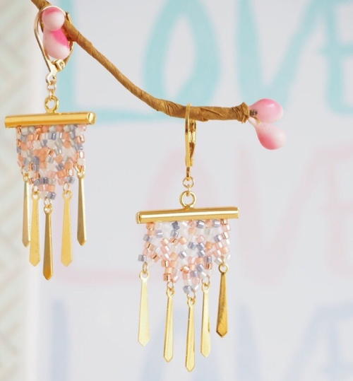 Romantic Herringbone Stitch DIY Earrings