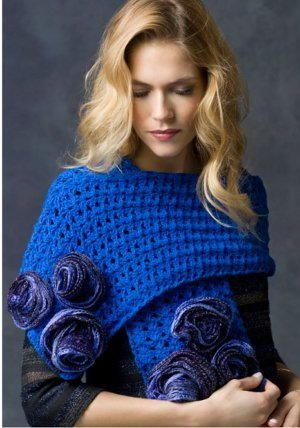 Shimmering Blue Rose Wrap