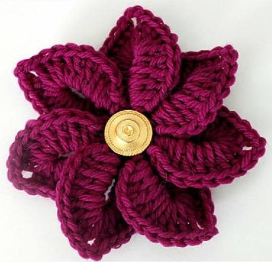 Crocodile Stitch Crochet Flower