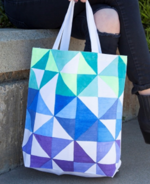 Geometric Triangle Tote Bag Design