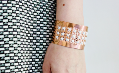 Gold Copper Bracelet with White Embroidery