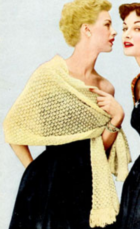 Vintage Shawl Knitting Patterns : Vintage Country Club Shawl AllFreeKnitting.com