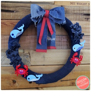 Old Denim Jeans Nautical Wreath