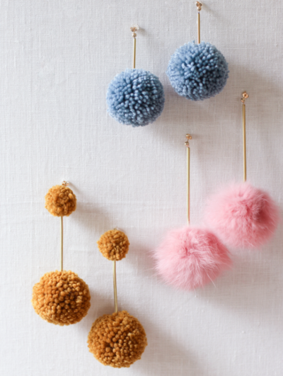 Stylish DIY Pom-Pom Earrings